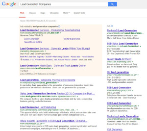 Google UK Search for Lead Generation Companies