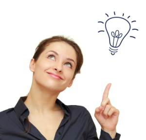 Beautiful business woman with a light bulb indicating a lead generation idea light bulb